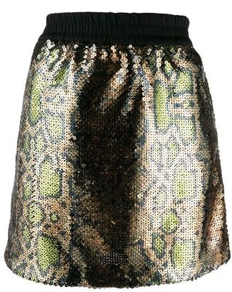 No.21 Snake Print Sequin Skirt