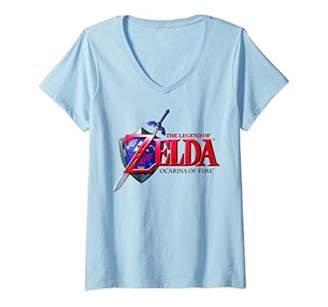 Nintendo Womens Legend of Zelda Ocarina of Time Classic Logo V-Neck T-Shirt