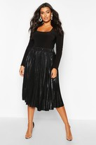 boohoo Plus Metallic Pleated Midi Skirt