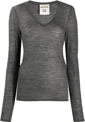 Semi-Couture Modal Longsleeve See-Through Top