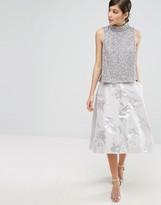 Coast Aviero High Low Metallic Jacquard Skirt