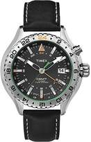 Timex Intelligent Quartz Men's Watch – Analogue Quartz – Black Dial – Black Leather Strap – t2p452