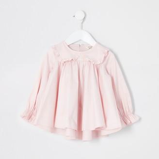 River Island Mini girls light Pink frill collar blouse