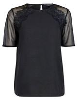 Dorothy Perkins Womens Tall Black Lace Insert T