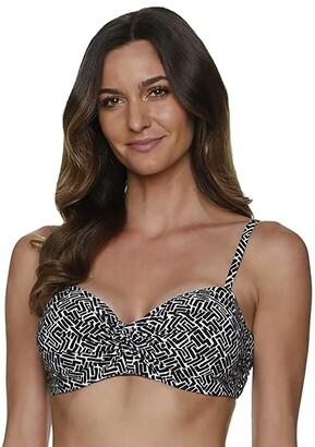 Helen Jon Sunset Key-Black D/Dd Twist Underwire Top (Black/White) Women's Swimwear