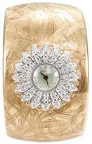 Buccellati Watches 'Anthochron Bellis' diamond 18k yellow gold floral cuff watch