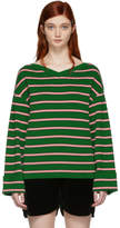 ALEXACHUNG Green and Pink Oversized Striped Sweater