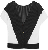 Vionnet Color-Block Ribbed-Knit Cardigan