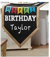 Mud Pie Birthday Party Burlap and Chalkboard Table Runner