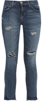 Current/Elliott The Uneven Cut Distressed Mid-Rise Skinny Jeans