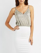 Charlotte Russe Metallic Surplice Tank Top