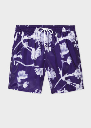 Paul Smith Men's Purple 'Screen Collage' Print Long Swim Shorts
