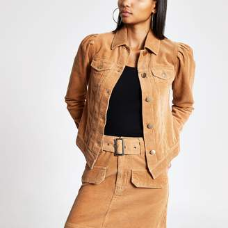 River Island Womens Brown corduroy puff sleeve fitted jacket