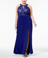 Night Way Nightway Plus Size Sequined Lace Halter Gown