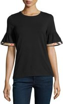 Burberry Crewneck Tee w/ Gathered Check-Trim Sleeves, Black