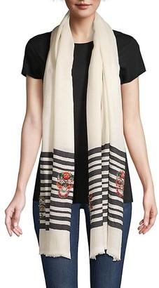 Janavi Skulls On Stripes Wool/Silk Scarf