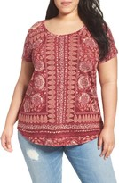 Lucky Brand Plus Size Women's Border Floral Tee