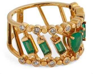Shay Yellow Gold, Diamond and Emerald Sticks & Stones Ring (Size 7)