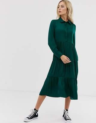 JDY tiered maxi shirt dress-Green