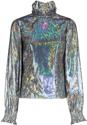 Batsheva Rory metallic high neck blouse