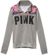 Victoria's Secret PINK Hibiscus Print Half Zip Sweatshirt