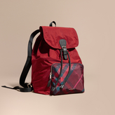 Burberry Check Detail Technical Packaway Rucksack, Red