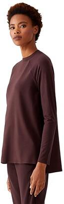 Eileen Fisher Crew Neck Raglan Sleeve Shirt (Cassis) Women's Clothing