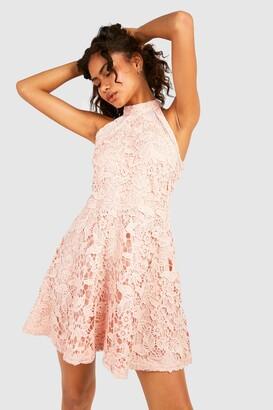 boohoo Lace High Neck Skater Dress