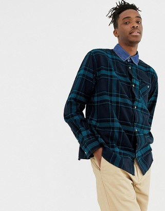 Weekday check shirt with denim collar in green-Blue