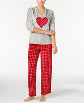 Charter Club Plush Appliquéd Top and Printed Pants Pajama Set, Only at Macy's