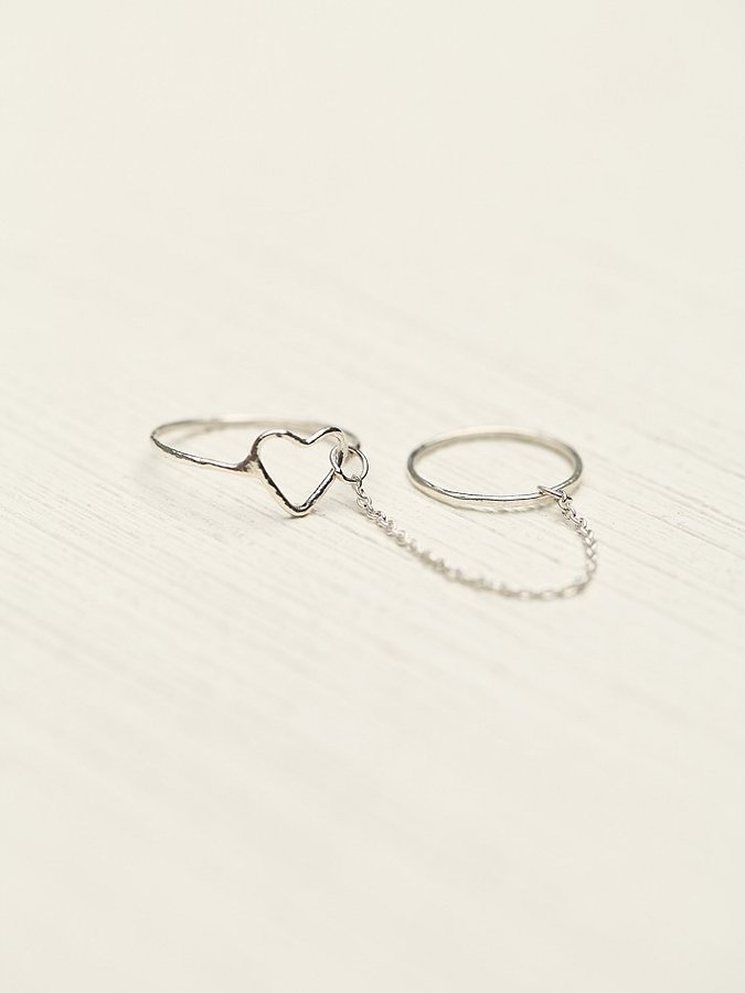 Free People Heart/Moon Chain Ring