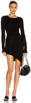 SAMI MIRO VINTAGE Asymmetric Long Sleeve Mini Dress in Black | FWRD