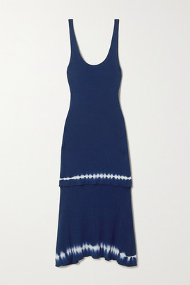 Altuzarra Shinobu Layered Tie-dyed Ribbed Pima Cotton-jersey Midi Dress - Navy