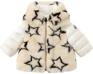 Moncler Faux Fur & Nylon Down Jacket