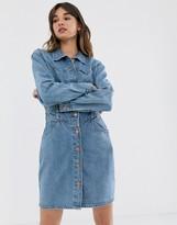 Wrangler button through denim dress with seam detail