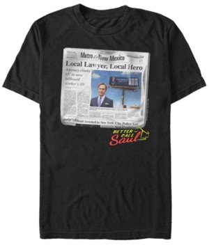 Fifth Sun Better Call Saul Men's Local Lawyer, Local Hero Newspaper Portrait Short Sleeve T- shirt