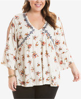 Eyeshadow Plus Size Split-Sleeve Peasant Top