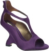 Max Studio Avow2 Curvy T-Strap Satin Wedges