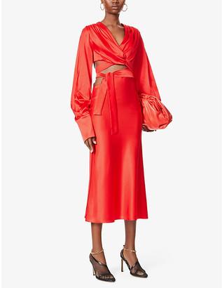 MATÉRIEL Open-side wrap stretch-silk dress