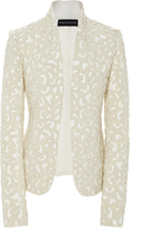 Brandon Maxwell Leopard Pearl Embroidered Jacket