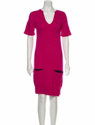 Hermes Cashmere Knee-Length Dress Pink