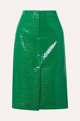 Tibi Croc-effect Faux Patent-leather Midi Skirt - Green