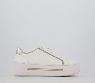 Office Fhantom Flatform Lace Up Trainers White Silver Glitter