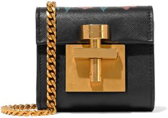 Oscar de la Renta Micro Alibi Convertible Floral-print Textured-leather Shoulder Bag