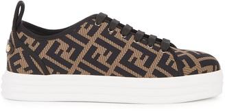 Fendi FF Monogrammed Knitted Flatform Sneakers