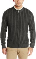 Geoffrey Beene Men's Long Sleeve Plaited Ribbed Full Zip Sweater