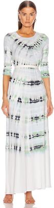 Raquel Allegra Half Sleeve Drama Maxi Dress in Minty Tie Dye | FWRD