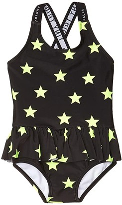 TINY TRIBE Star Cross-Back Frilly Tank (Infant) (Black) Girl's Swimsuits One Piece