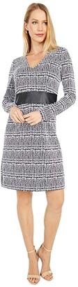 MICHAEL Michael Kors Jaquard Fit-and-Flare V-Neck Dress (Black) Women's Dress
