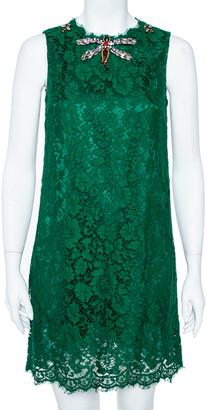 Dolce & Gabbana Green Lace Dragonfly Embellished Sleeveless Shift Dress S